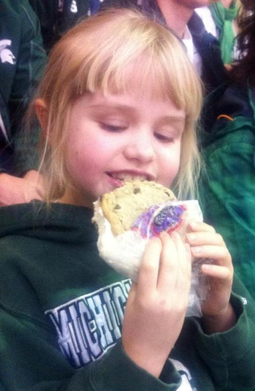 Mmmm, the traditional hockey game snack - Melting Moments ice cream cookie sandwich.